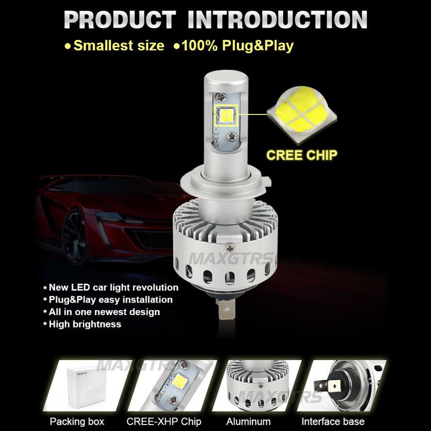 2x H4 H7 H8 H11 9005 HB3 9006 HB4 H1 H3 CREE Chip XHP50 External Led Bulb Car Led Headlight Driving Lights Lamp Light Source