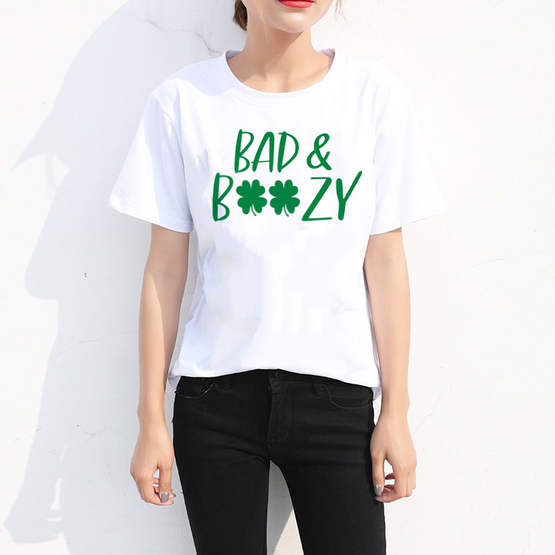LUSLOS Bad and Boozy T Shirt Let 39 s Get Ready to Stumble Day Drink Tee Tops Shenanigan Enthusiast Short Sleeve in T Shirts from Women 39 s Clothing