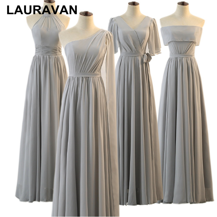 grey women   bridesmaids     dress   multi styles girls chiffon   bridesmaid   occassion   dresses   with corset back for wedding guests