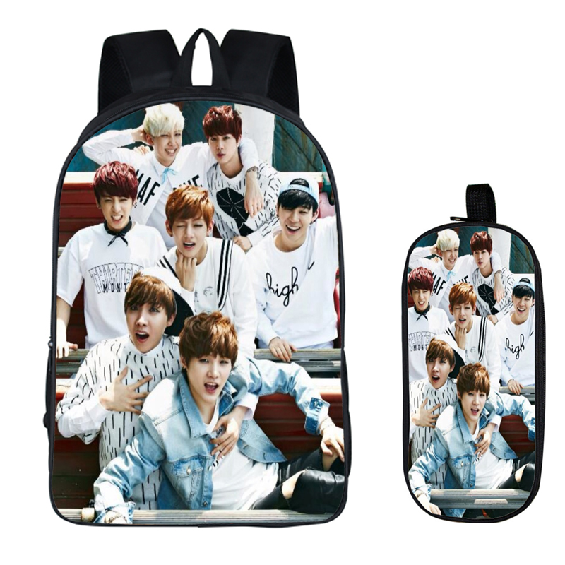 Bts 2pc Set With Pencil Case Bangtan Boys Student Backpacks Female Diy Printing Children Schoolbags For Boys Kids Men Book Bag