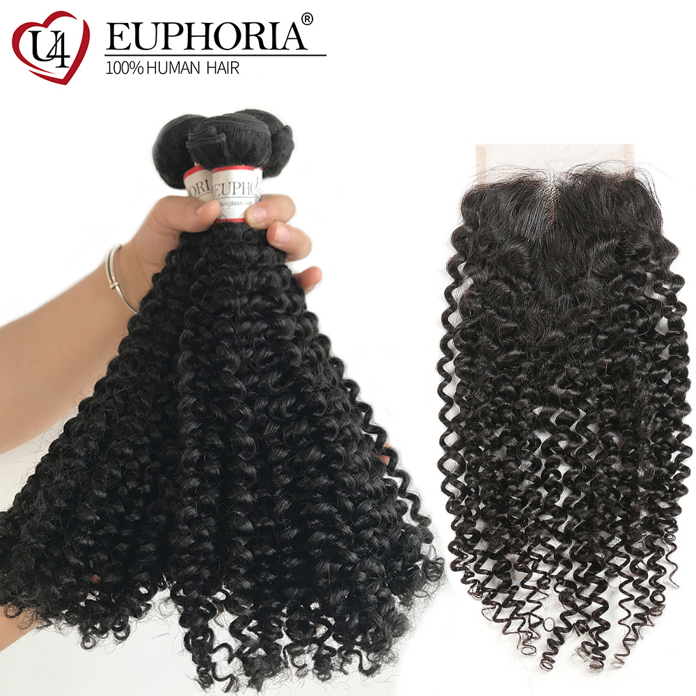 Kinky Curly Hair Bundles With Closure Euphoria Brazilian Natural Color Human Hair Lace Closure 4x4 With Remy Bundle Hair Weaving