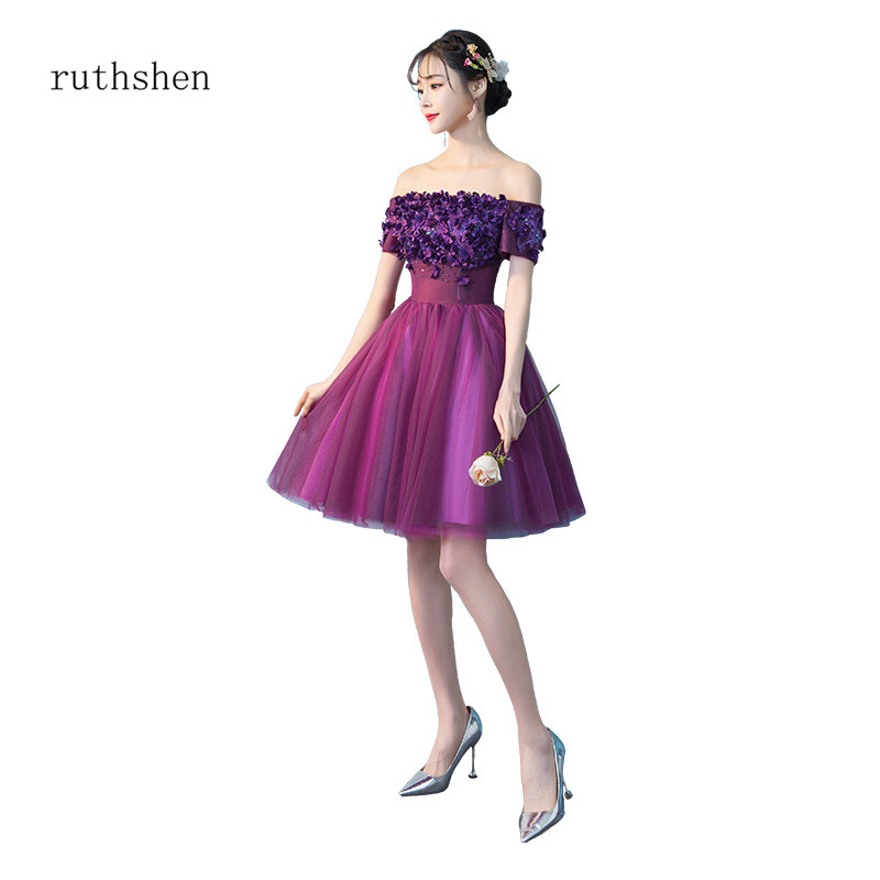 ruthshen Grape Color Fairy Girl Mini   Cocktail     Dresses   Off The Shoulder Party   Dresses   Short Sleeves Vestidos Coctel Above Knee