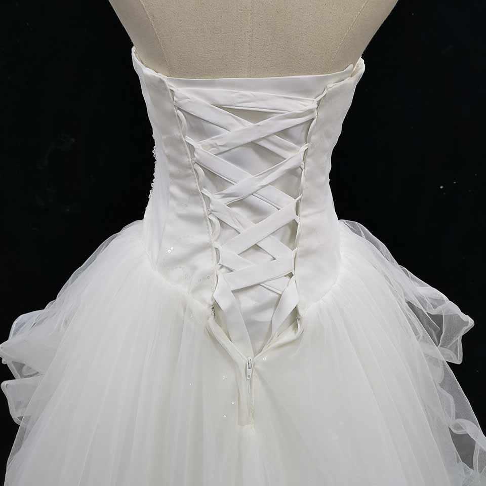 שנהב Crtstal חתונה שמלות Beadings מקיר לקיר כלה שמלות פאייטים אפליקציות נדל תמונה בחנות באיכות גבוהה למכור זול