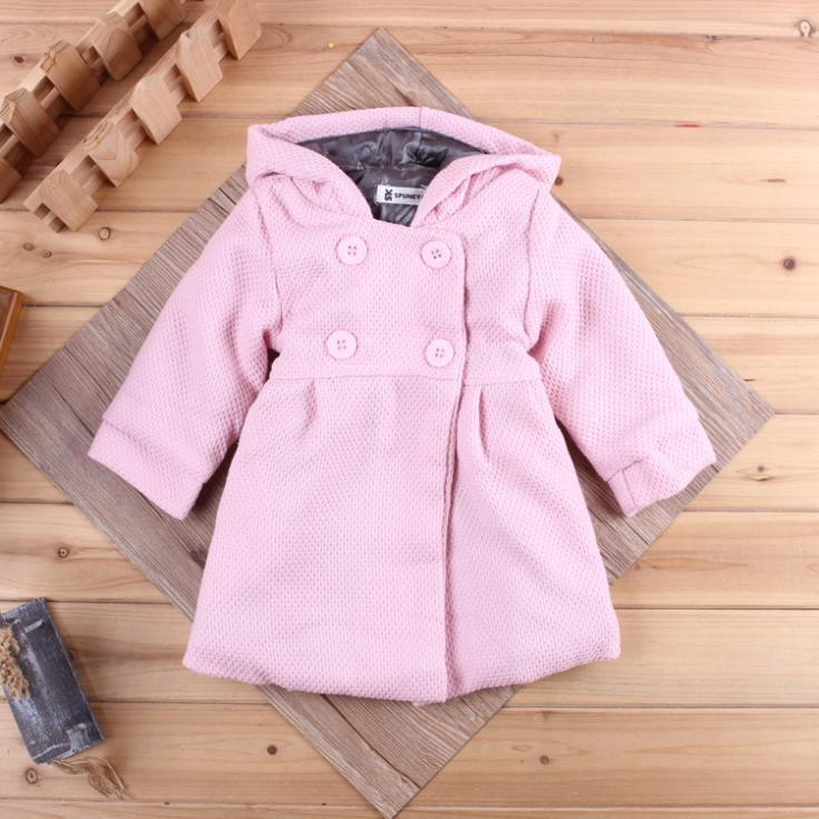 Autumn Winter Baby Girls Coat Long-sleeved Solid Fashion Jackets for Baby Girls Hooded Newborn Windproof Outerwear