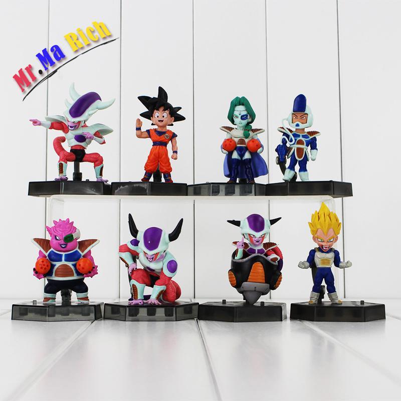 Cute 3sets/lot 8pcs/set Dragon Ball Z Cartoon Dragonball Son Goku Vegeta Freeza Majin Buu Pvc Action Figure Toy дайва торнадо z 3 0 8 28