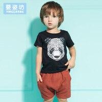 Chłopcy letnie Ubrania 2016 New Baby Boy Odzież Zestaw Wzór Panda Berbeć Chłopcy Odzież Ustawia 2 Sztuk