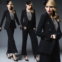Custom Formal Womens Casual Office Business Suits Work Wear Uniform Styles Elegant Pant Suits Double Breasted Trouser Suit