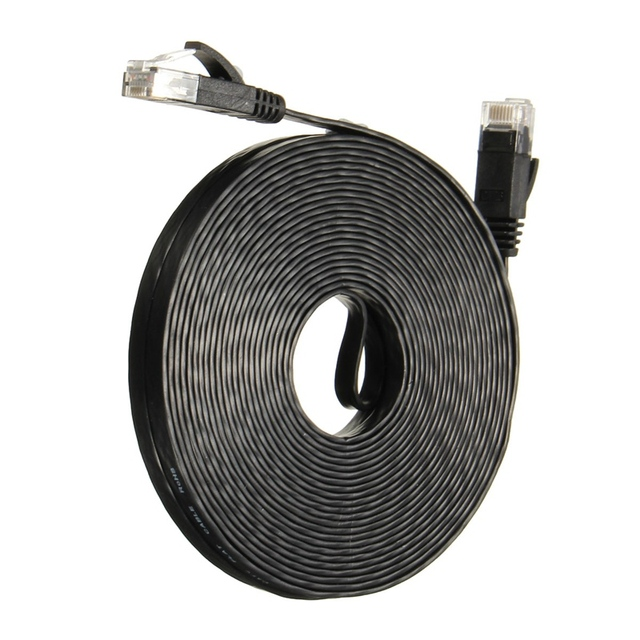 Top Selling Newest Style Black 10M CAT6 Flat Network Wire Flat Ethernet Patch Internet Lan Network Cable