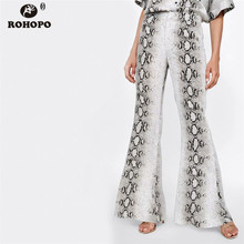 ROHOPO Women Snake Printed Casual Flare Pant High Waist Serpentina Vintage Ladies Trousers Autumn Bottoms #XZ1689