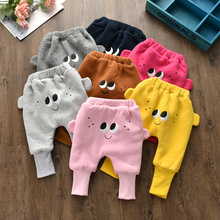 Baby Long Sweatpants Kids Winter Pants Girls Cartoon Warm Trousers New Cute Appliqued Cotton for