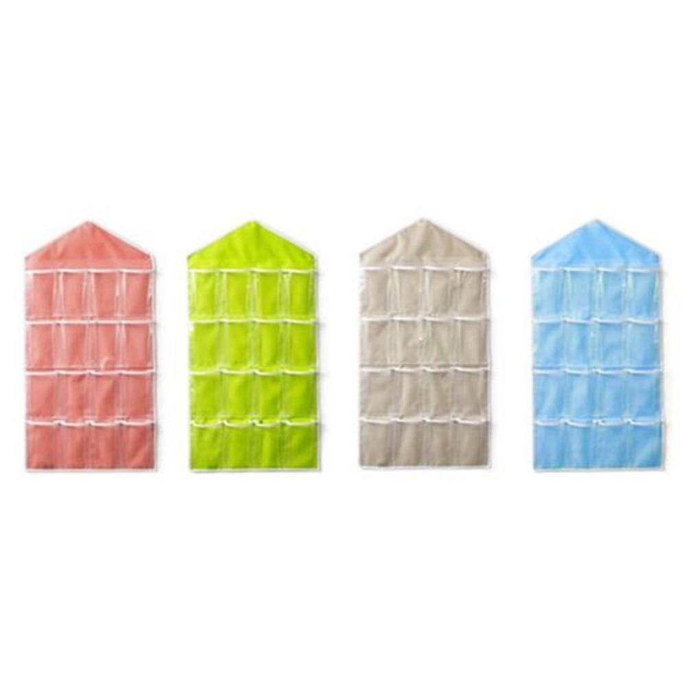 4 Colors 16 Pockets Clear Over Door Hanging Bag Hanger Storage Tidy Organizer For Home Bathroom Living Room Household Sundries