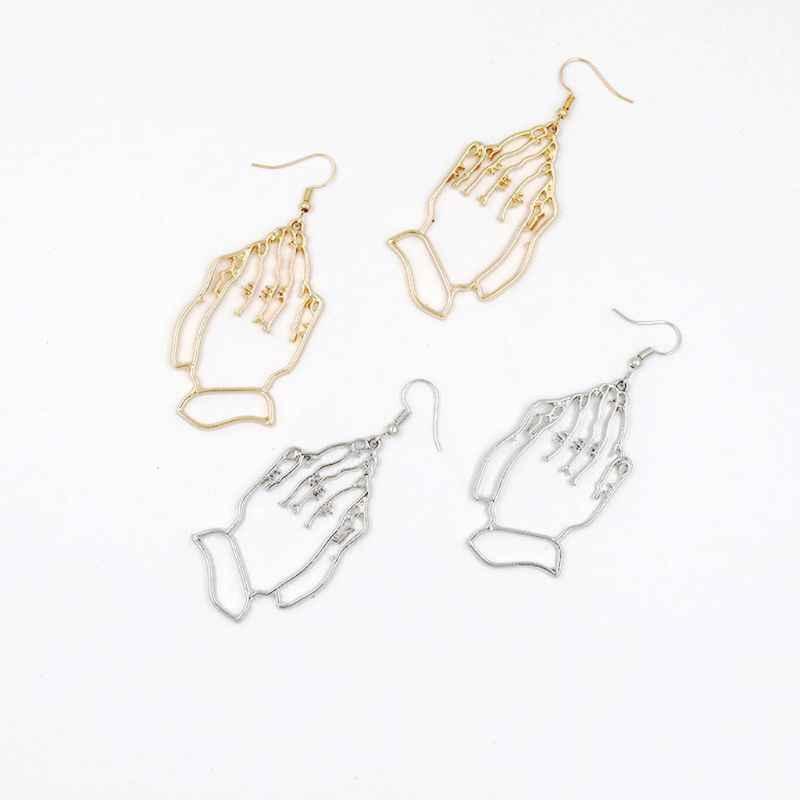 Уникальный дизайн простые серьги с подвесками для женщин полые абстрактные сложенные руки поклонение вере молитва висячие серьги Модные ювелирные изделия