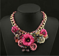 Newest Luxury Necklace Free Shipping Colorful Flowers Woven Rope Wrapped Crystal Pendant Necklaces Short Paragraph Chain
