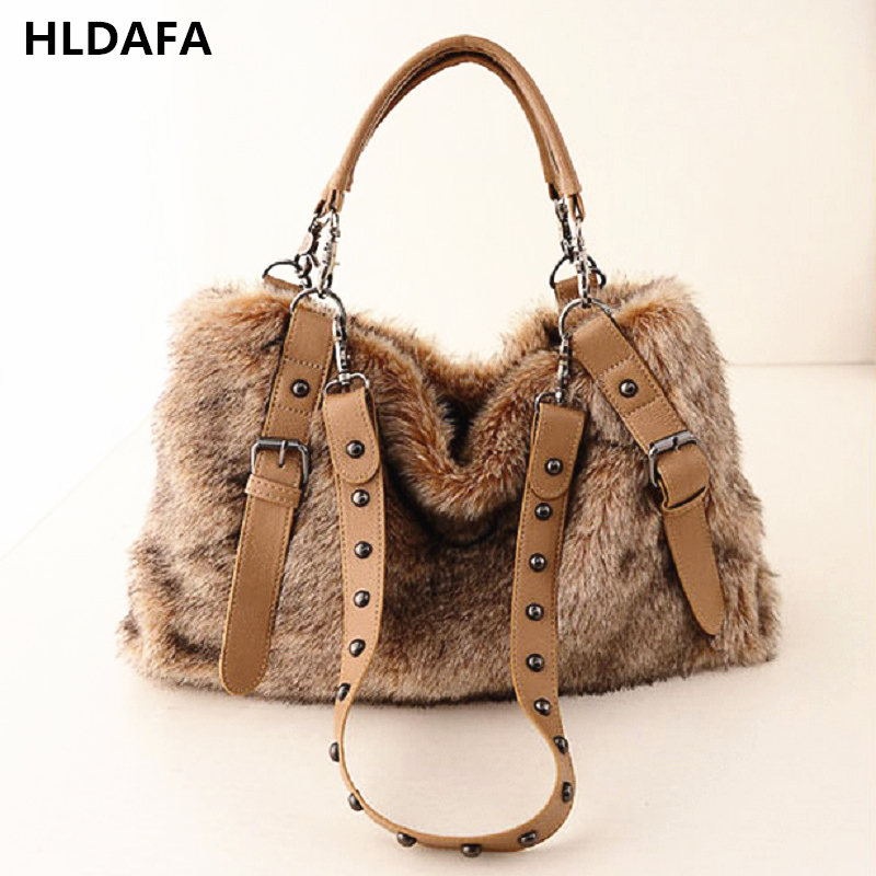 HLDAFA 2018 New fashion Designer famous brands Women Handbag Female Fur Leather Bags Handbags Ladies High quality Shoulder Bag 4sets herringbone women leather messenger composite bags ladies designer handbag famous brands fashion bag for women bolsos cp03