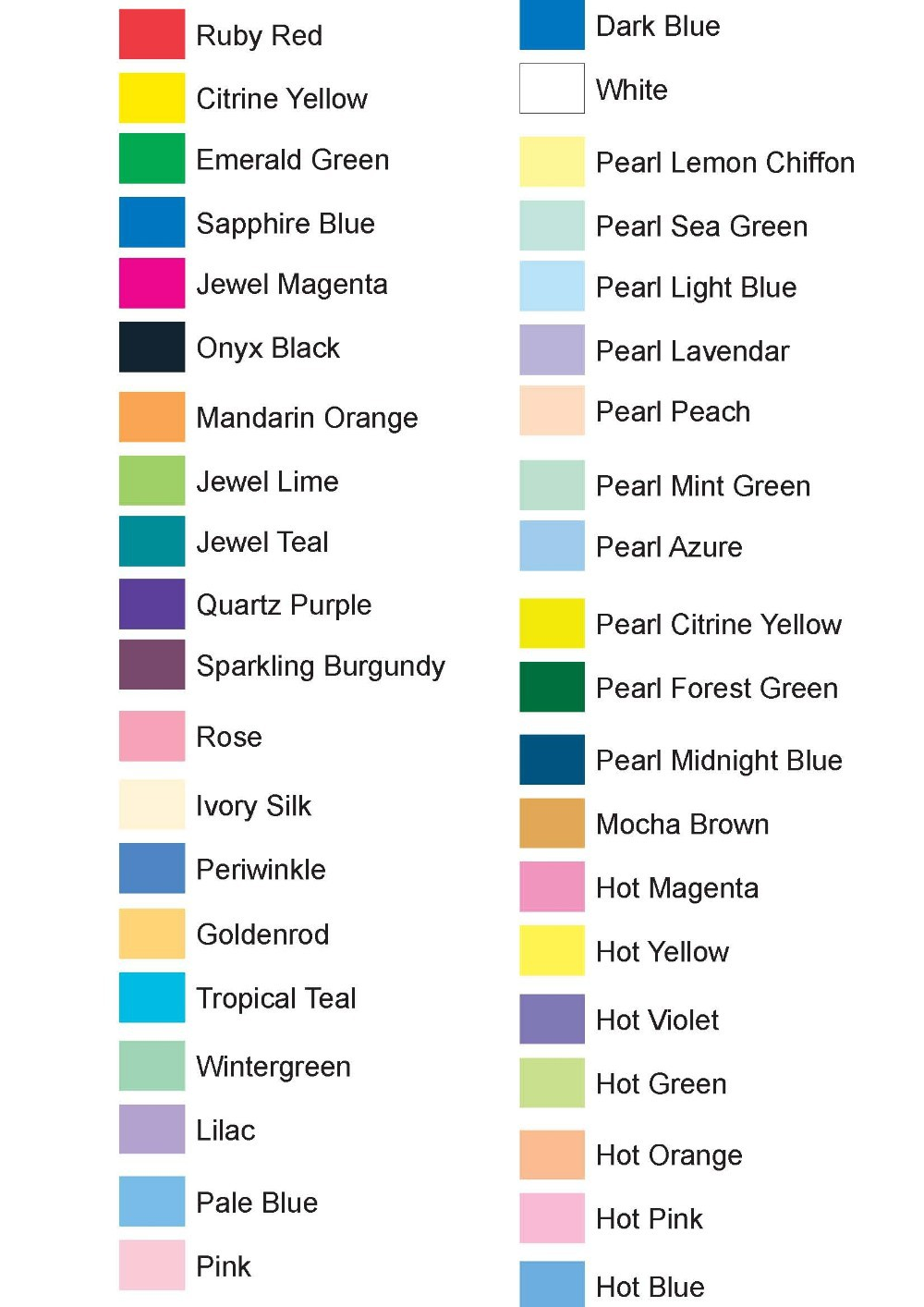 42 colors options