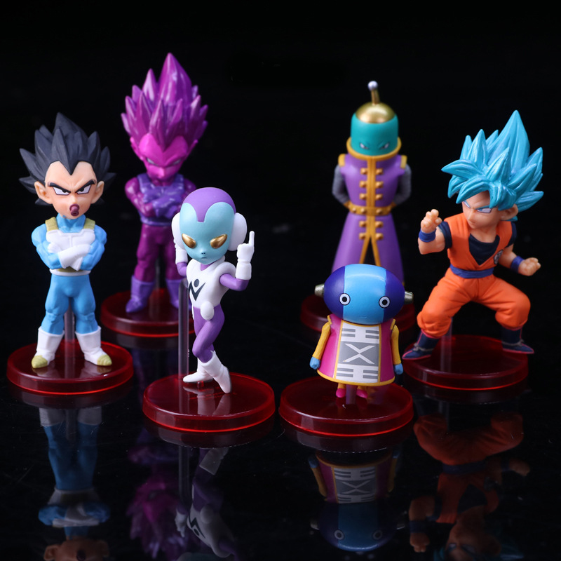 Action & Toy Figures Well-Educated Dbz Pvc 6 Pcs/set Anime Dragon Ball Z Goku God With God Vegeta Blue Goku Super Saiya Q Ver Action Figure Model Toy 5-10cm Rich In Poetic And Pictorial Splendor