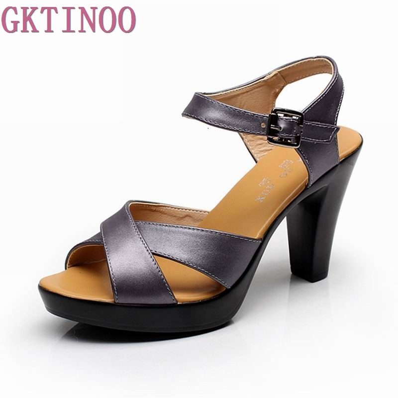 GKTINOO Fashion Genuine Leather Sandals 2018 New High Heel Summer Shoes Gladiator Open Toe Platform Sandals plus size gktinoo genuine leather sandals women flat heel sandals fashion summer shoes woman sandals summer plus size 35 43 free shipping