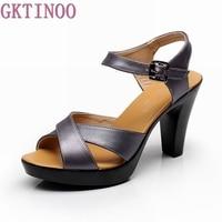 Fashion Genuine Leather Sandals 2016 New High Heel Summer Shoes Gladiator Open Toe Platform Sandals Plus