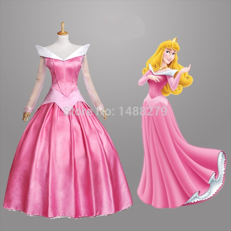 New Sleeping Beauty Princess Aurora Cosplay Costume Gorgeous Pink Fancy Dress Halloween  ...