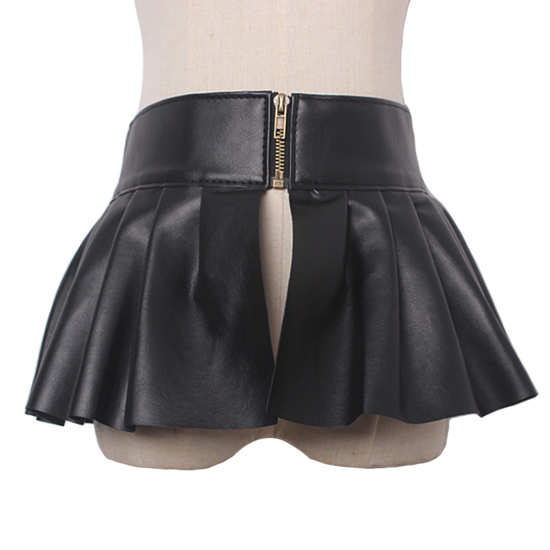Fashion Unique Female Leather Belt Skirt Accessories Black Dress Ruffled Skirt Waist Wide Sealing For Women Leather Belts Punk