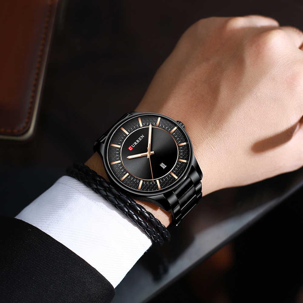 CURREN mejor marca hombre relojes reloj hombre moda cuarzo relojes hombres negocios acero reloj de pulsera con fecha negro clásico hombre