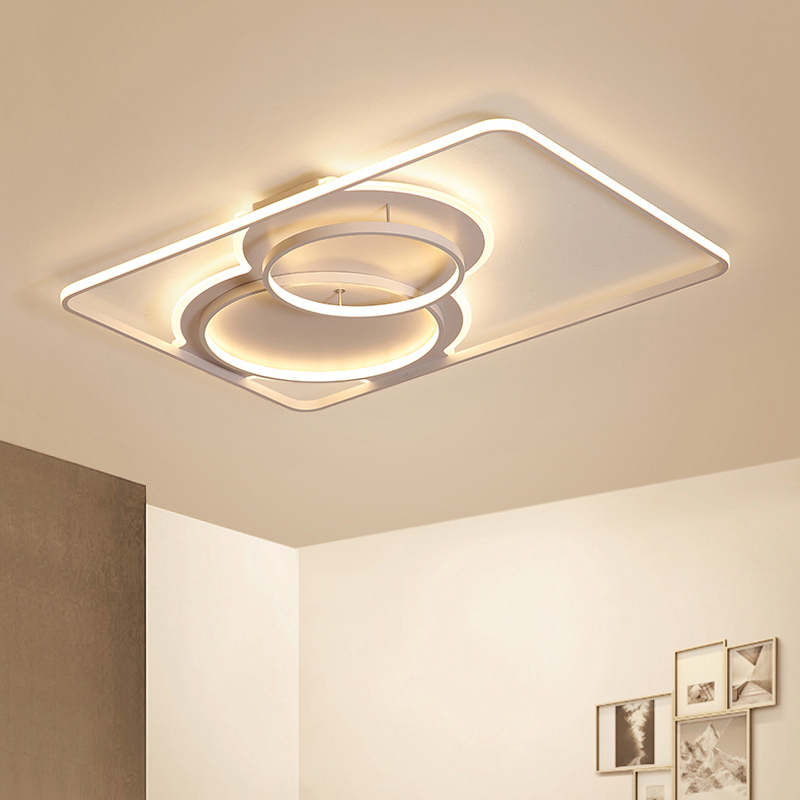 modern LED chandelier light For living room simple atmosphere home creative personality new rectangular hall chandelier