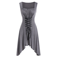 Rosegal Plus Size Lace Up Asymmetrical Midi Dress Vinatge Sleeveless Solid Women Gothic High Waist Elegant Dress Vestidos