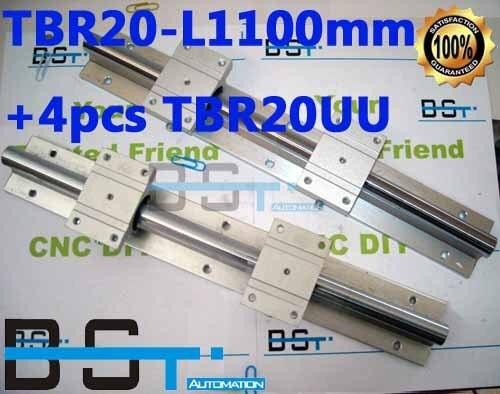 Поддержка линейных рельсов вал собирает 2 шт tbr20-l1100mm+ 4 шт TBR20UU шариковые блоки для ЧПУ