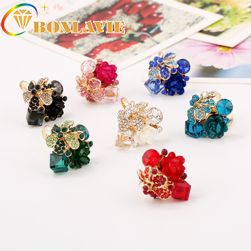 Opening-Rings Crystal Adjustable Colorful Personalized Fashion for Woman Gift Gem Resin