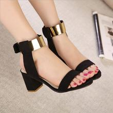New 2016 summer thick heel sandals women fashion women's shoes metal quality nubuck leather high heels sandals