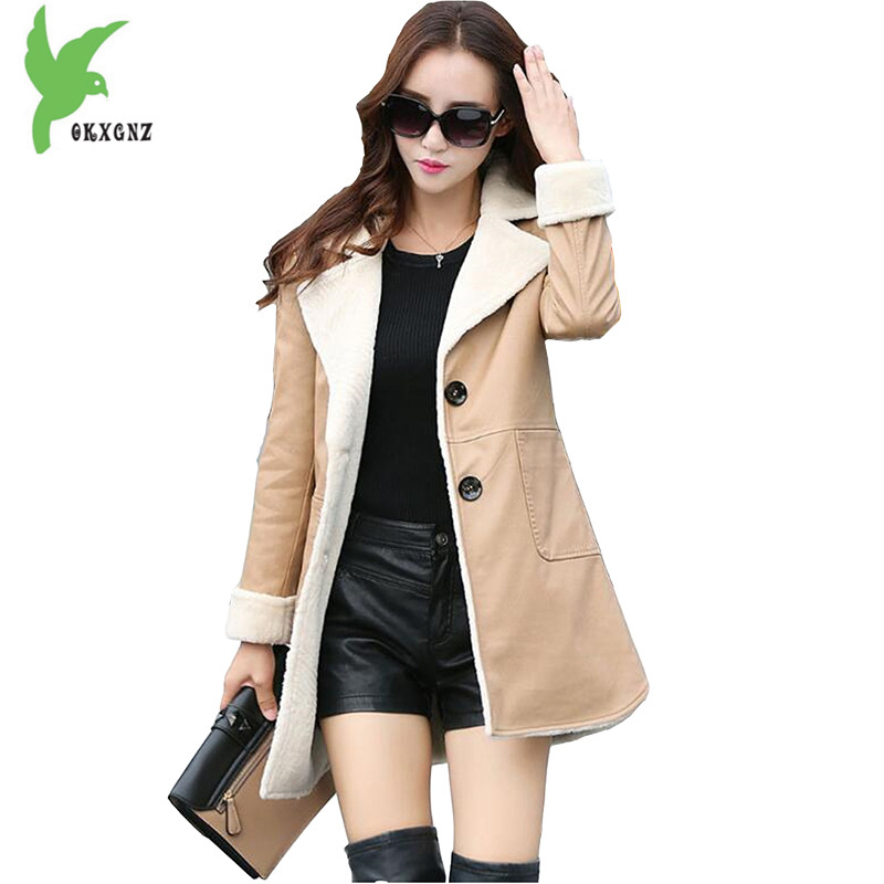 New Winter Women's Artificial   Leather   Jacket Fashion Solid Color Washed   leather   Windbreaker Warm Slim Boutique Coat OKXGNZ A836