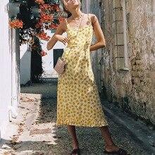 Cuerly 2019 summer floral print sundress women boho beach midi dress slash neck Sleeveless Sling streetwear ruffle dresses