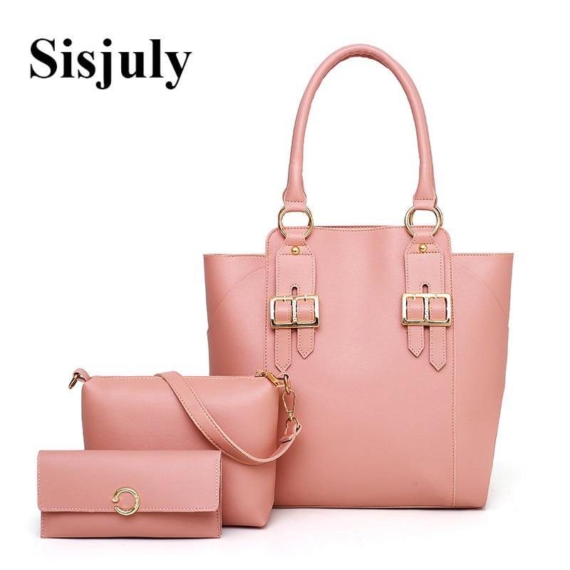 Sisjuly 3pcs Women Bag Set Soft Leather Bags Women Handbags Summer Female Bag Purses and Handbag Ladies Casual Tote Sac A Maine sisjuly фуксин xxxl