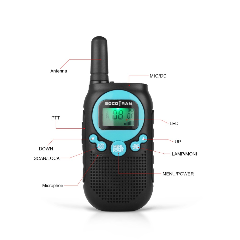 Walkie Talkies License Free Two-Way Radios for Kids and Adults Portable Mini 2 Way Radios with Rechargeable Li-ion Battery 5 Miles 22 CH 0.5W Perfect for Outdoor Activities Black 2 Pcs anybetter SC-R40