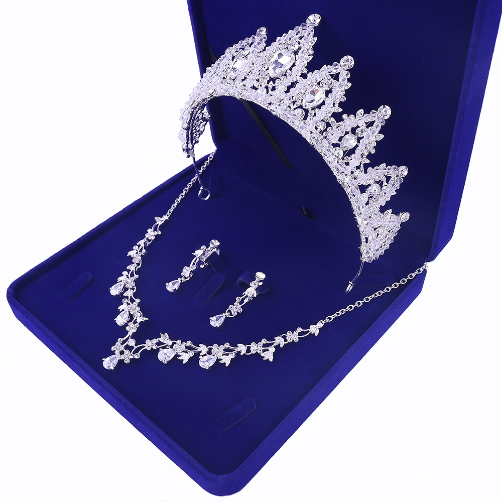Sliver Plated Rhinestone Crystal Faux Pearl Necklace+Earring Jewelry Set For Bride Bridal Wedding (4)