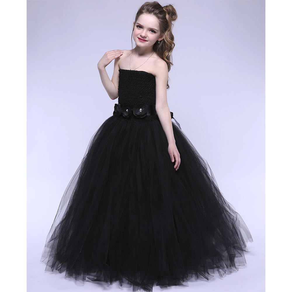 Black Sleeveless Ribbon Girl Tutu Dress Flower Girls Evening Party Pageant Ball Gown Tutu Dresses For Children Photograph 1-10Y