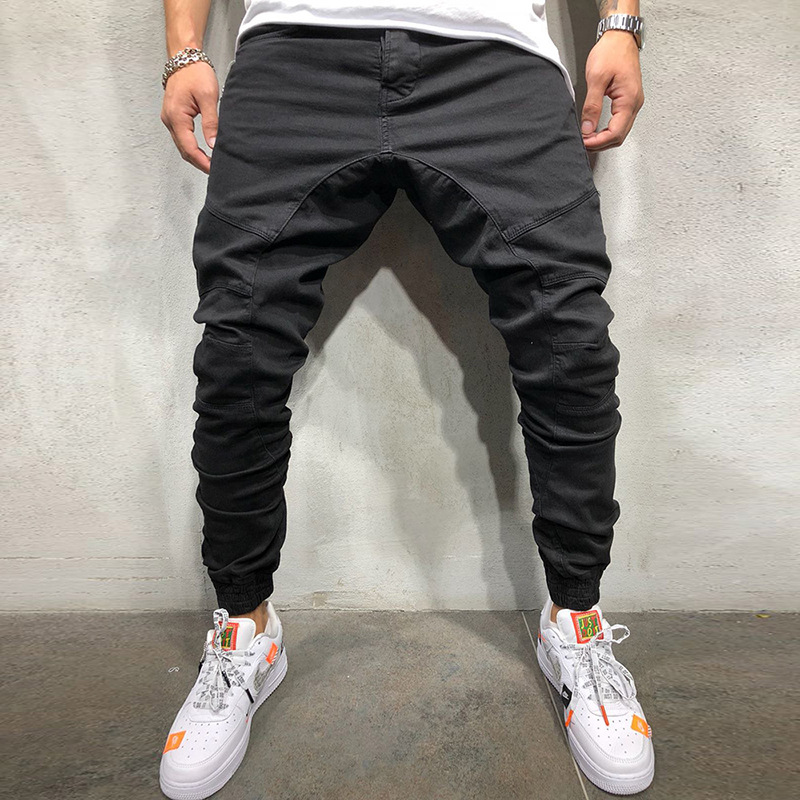Harem-Pants Zipper-Pockets Male Trousers Men Joggers Khaki Hip-Hop Military-Side Black