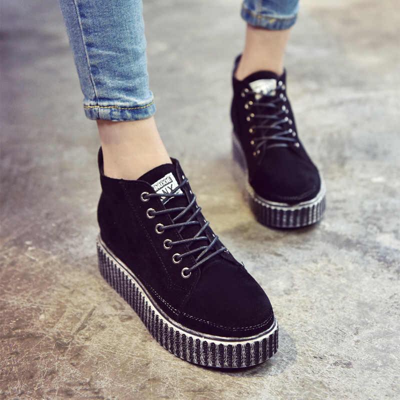 ... Livraison Gratuite 2017 Coréen Rétro Femmes de Chaussures de Sport Ont  Augmenté Fond Épais Plate- ... ca83e4938d0
