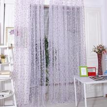 Fashion Mini Floral Door Window Curtain Tulle Voile Drapery Panel Scarf Valances(China)
