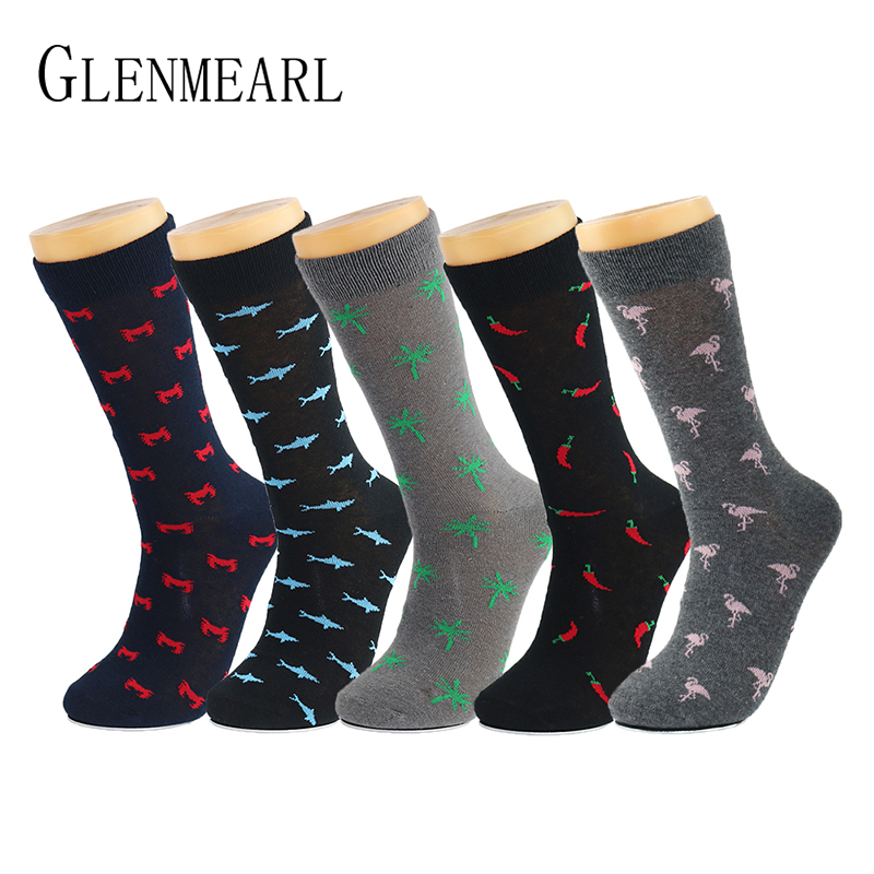 5 Pair/Lot Cotton Men   Socks   Brand Spring Fall Plus Size Quality Compression Coolmax Black Grey Pattern Business Dress Male   Socks