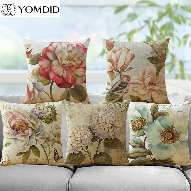 Flower pattern Cotton Linen Cushion Cover Vintage Style Flowers Pattern Pillowcase Waist Throw Pillows Cover Home decor ...