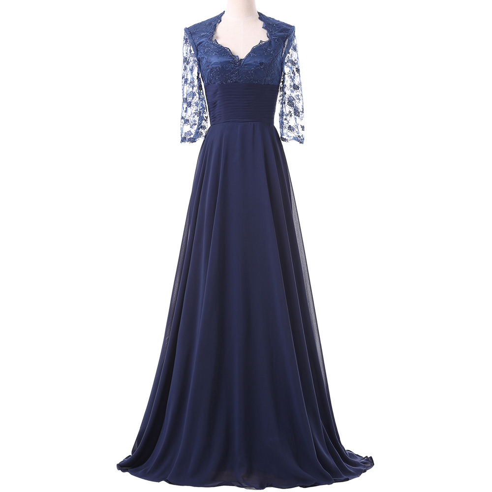 Mother of the bride dress navy blue lace evening dresses for Navy evening dresses for weddings