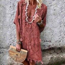 Женская хлопковая Летняя Пляжная туника с кисточками размера плюс S-XXL, длинная футболка с коротким рукавом, женское повседневное пляжное платье