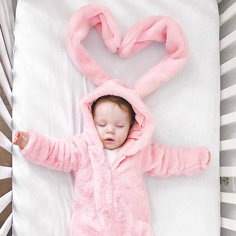 Autumn Winter Baby Girls Warm Bunny Ear Rompers Infant Rabbit Style Jumpsuit Thick Cotton Girls Hooded Clothes for home outdoor