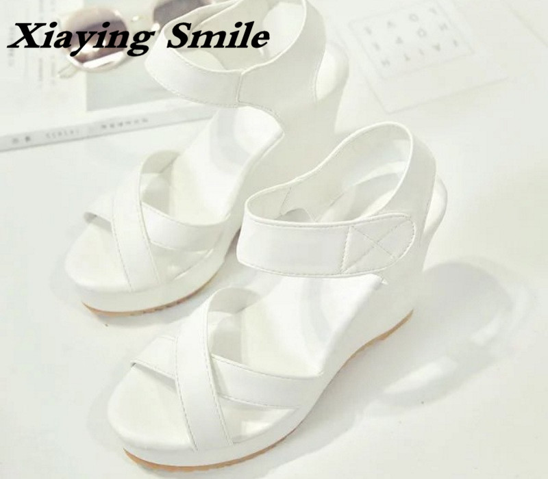 Xiaying Smile Woman Sandals Summer Shoes Women Pumps Platform Wedges Heel Open Toe Casual Thick Sole Antiskid Rubber Women Shoes xiaying smile new summer woman sandals shoes women pumps platform fashion casual square heel buckle strap open toe women shoes