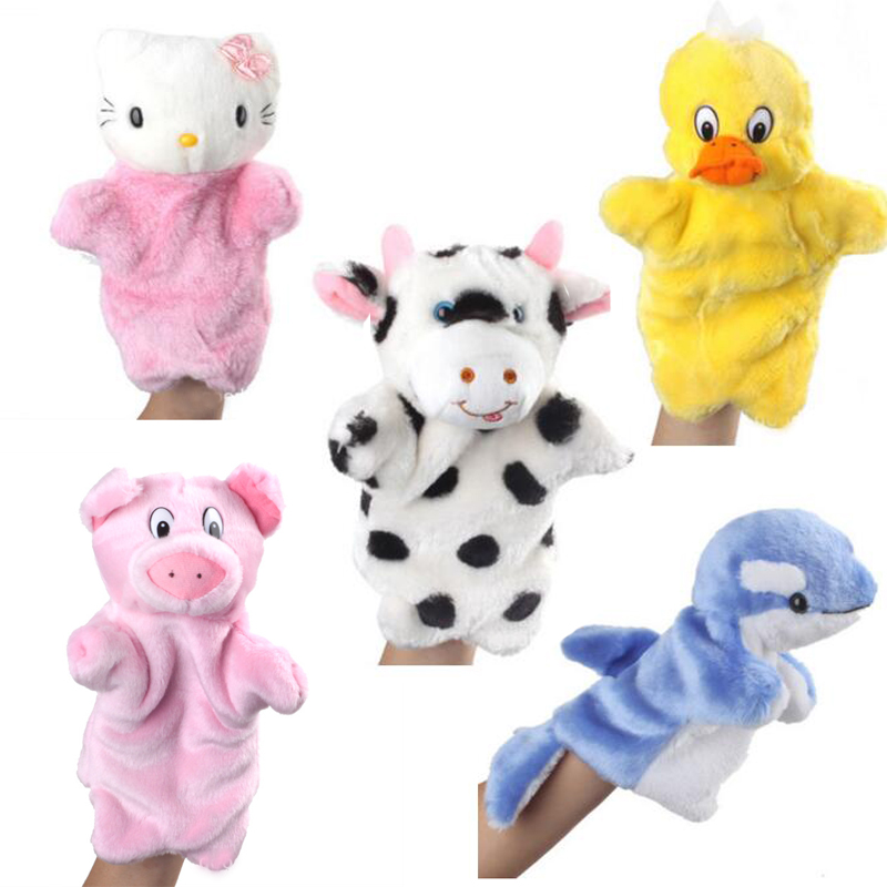 Animal Hand Puppet Plush Toys Animal Muppet Kermit Babies Finger Doll Plush Toy Marioneta De Mano Rabbit  Shark Dolls