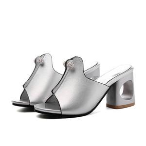Image 2 - Smirnovaプラスサイズ 34 48 ファッション夏新靴女性の正方形のハイヒールの靴女性カジュアルサンダル女性 2020 夏の靴