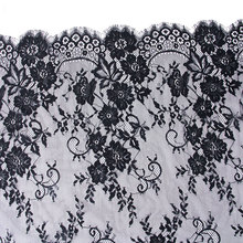 Misaya 3Yards/lot Eyelashes Lace Trim Very Wide 2 Colors High Quality Lace Fabric Handmade DIY Wedding Accessories Width 74cm