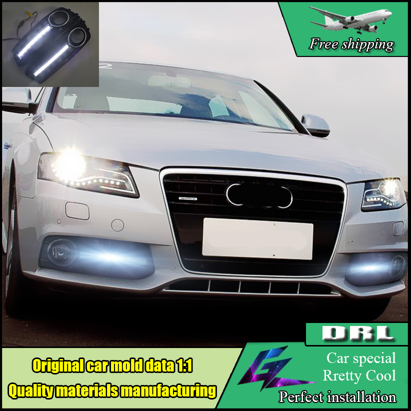 2 pcs Car Styling LED DRL For Audi A4 A4L B8 2009-2012 LED DRL Daytime driving Running Lights Daylight Fog Lamp cover hole 1 set car styling 12v led white daytime running lights drl car driving lights fog lamp cover for audi q5 2010 2011 2012 2013
