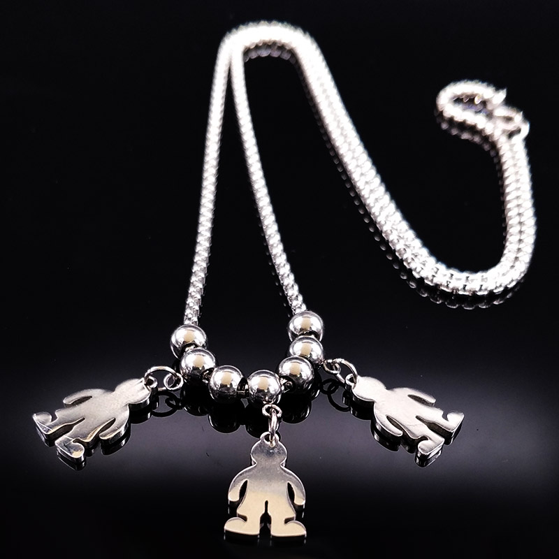 2019 módní nový 3 boy z nerezové oceli dlouhý náhrdelník pro ženy řetízek náhrdelník a přívěsky šperky obojky mujer N74199